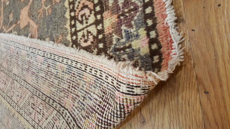 Vintage Khotan Rug, Handmade Oriental Rug, Soft shrimp, Beige, Brown, Char Gray For Sale 3