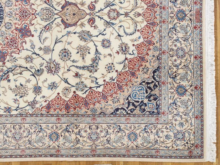 Persian Nain Carpet Oriental Rugs Handmade Ivory Rug