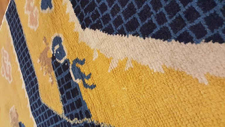 Antique Chinese Runner Yellow And Blue Runner Handmade