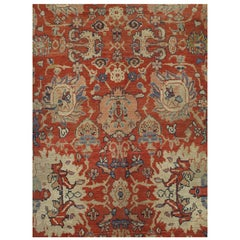Antique Persian Sultanabad, Wool Handmade, Beige and Red Oriental Rug