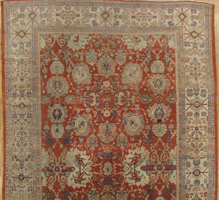 Vintage Persian Bokhara Wool Area Rug 10 X 13: Antique Persian Sultanabad, Wool Handmade, Beige And Red