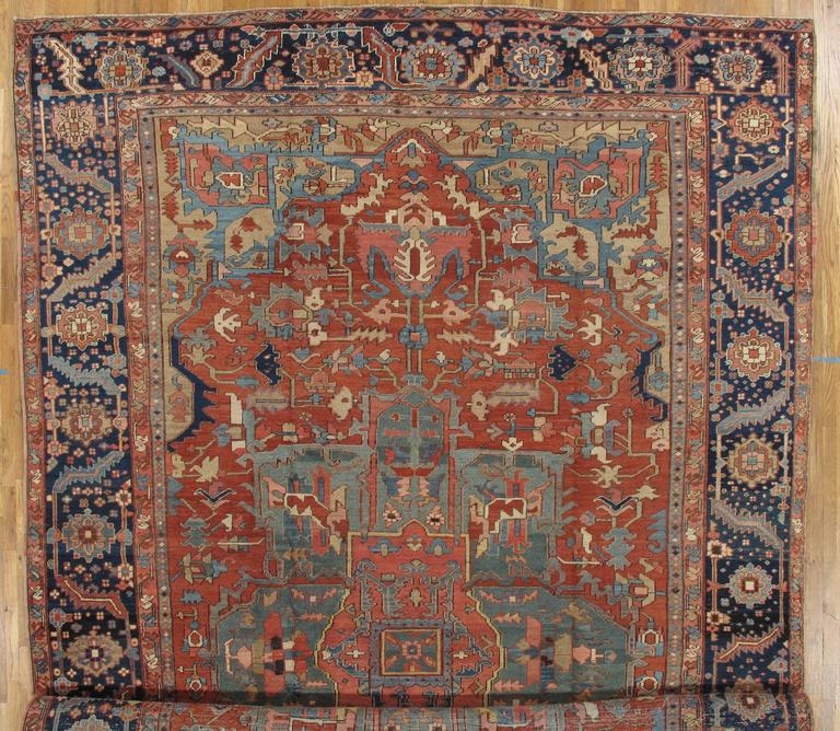 Antique Persian Heriz Carpet, Handmade Wool Oriental Rug