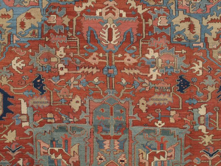 Hand-Knotted Antique Persian Heriz Carpet, Handmade Wool Oriental Rug, Rust, Navy, Light Blue For Sale