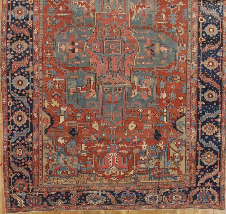Early 20th Century Antique Persian Heriz Carpet, Handmade Wool Oriental Rug, Rust, Navy, Light Blue For Sale