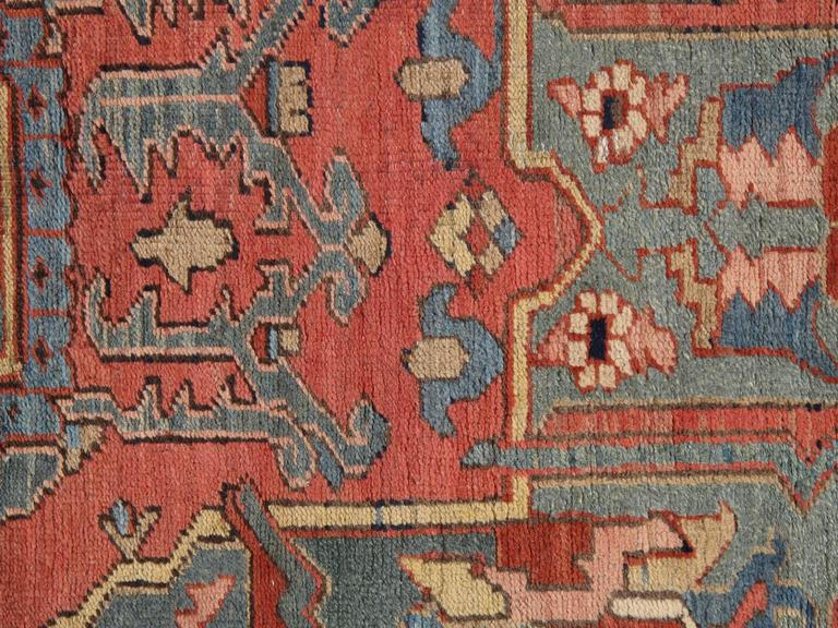 Antique Persian Heriz Carpet, Handmade Wool Oriental Rug, Rust, Navy, Light Blue For Sale 3