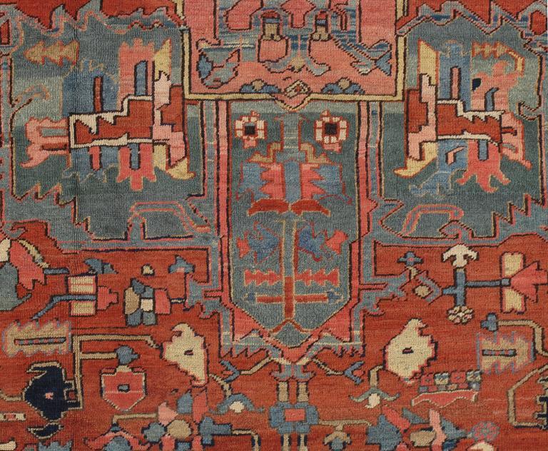 Antique Persian Heriz Carpet, Handmade Wool Oriental Rug, Rust, Navy, Light Blue For Sale 4