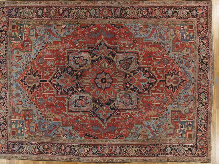 Antique Persian Heriz Rug, Handmade Wool Oriental Rug, Red And Blue 3
