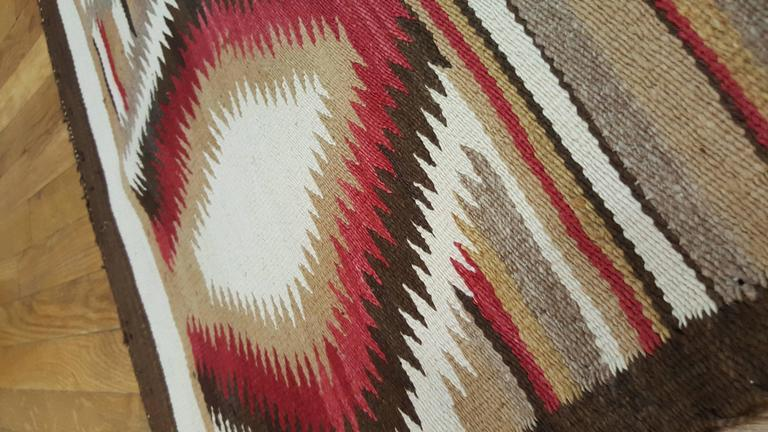 Antique Navajo Rug, Folk Rug, Red Rug, Oriental Rug, Patterned Rug In Excellent Condition For Sale In New York, NY