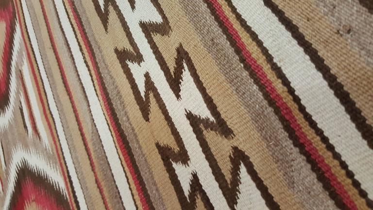 Wool Antique Navajo Rug, Folk Rug, Red Rug, Oriental Rug, Patterned Rug For Sale