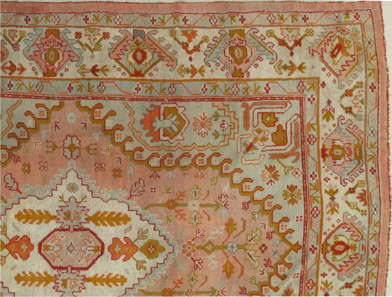 Hand-Knotted Antique Oushak Carpet, Turkish Rugs, Handmade Oriental Rug Pink Blue Green Coral For Sale