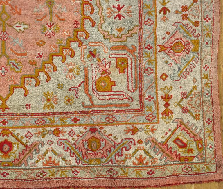 Wool Antique Oushak Carpet, Turkish Rugs, Handmade Oriental Rug Pink Blue Green Coral For Sale