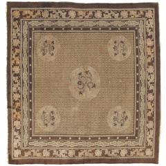 Antique Chinese Carpet, Oriental Rug, Handmade Soft Brown Caramel, Dragon Design