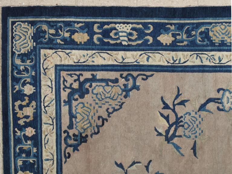 Chinese Export Antique Chinese Rug, Tan and Blue Oriental Handmade Wool Rug For Sale
