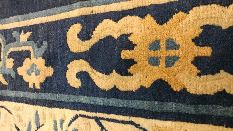 Hand-Knotted Antique Chinese Rug, Tan and Blue Oriental Handmade Wool Rug For Sale