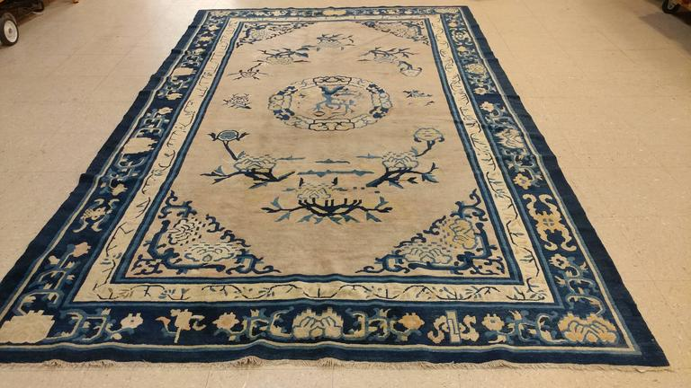 Antique Chinese Rug, Tan and Blue Oriental Handmade Wool Rug In Good Condition For Sale In New York, NY