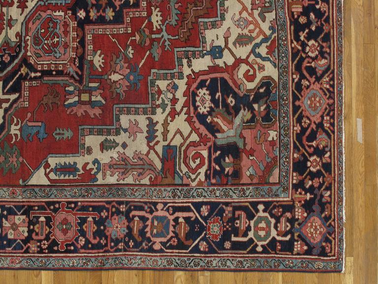 Persian Antique Handsome Serapi Carpet, Handmade Wool Carpet Red Navy, Light Blue, Ivory For Sale