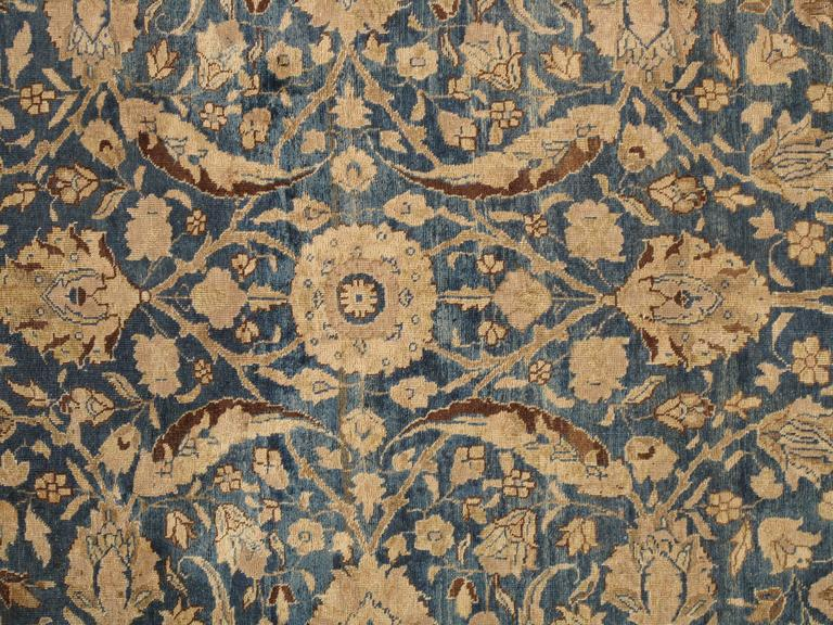 Hand-Knotted Antique Tabriz Carpet, Handmade Persian Rug in Floral Gold, Blue and Taupe For Sale