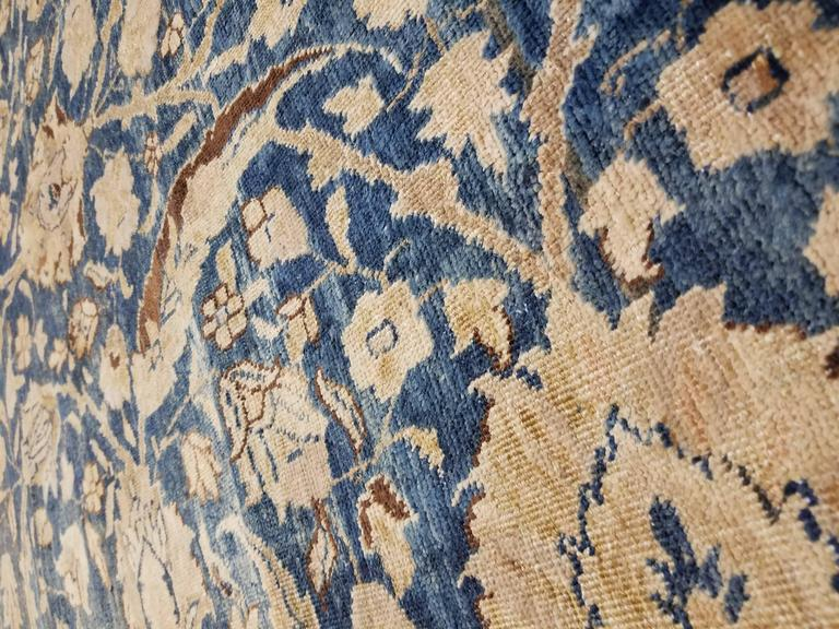 Antique Tabriz Carpet, Handmade Persian Rug in Floral Gold, Blue and Taupe In Good Condition For Sale In New York, NY