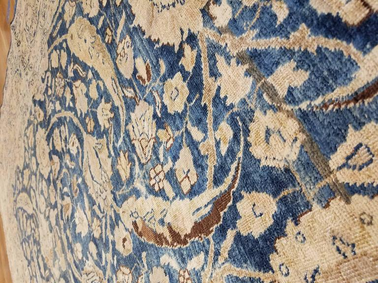 20th Century Antique Tabriz Carpet, Handmade Persian Rug in Floral Gold, Blue and Taupe For Sale