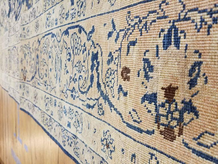 Wool Antique Tabriz Carpet, Handmade Persian Rug in Floral Gold, Blue and Taupe For Sale