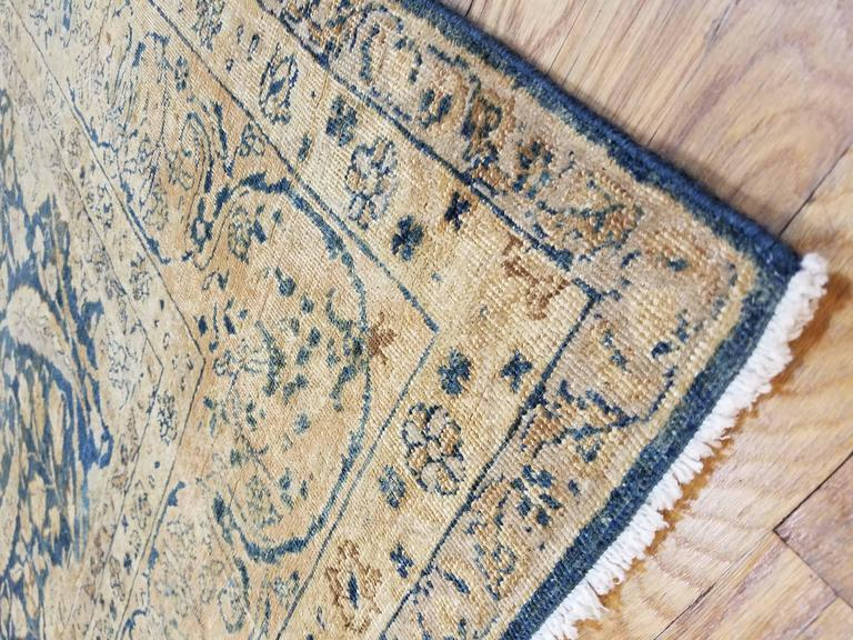 Antique Tabriz Carpet, Handmade Persian Rug in Floral Gold, Blue and Taupe For Sale 1