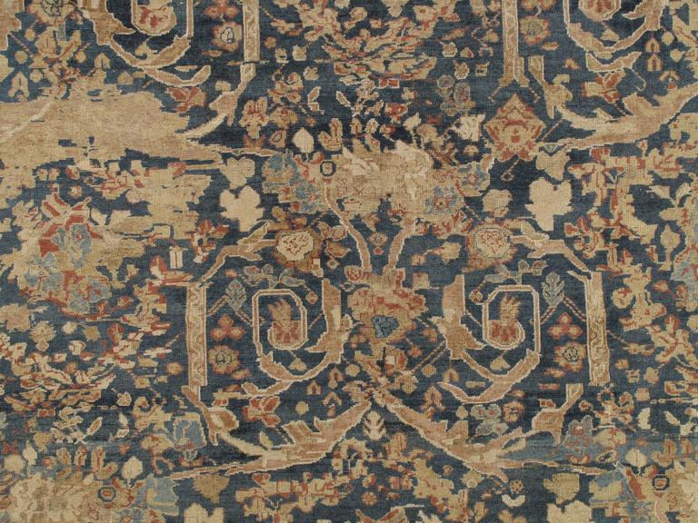 Hand-Knotted Antique Sultanabad Carpet, Persian Handmade Wool Rug, Soft Navy, Light Blue Ivor For Sale