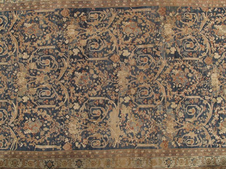 19th Century Antique Sultanabad Carpet, Persian Handmade Wool Rug, Soft Navy, Light Blue Ivor For Sale