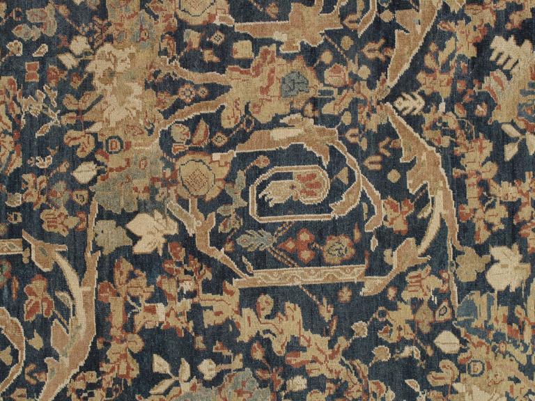 Antique Sultanabad Carpet, Persian Handmade Wool Rug, Soft Navy, Light Blue Ivor For Sale 1