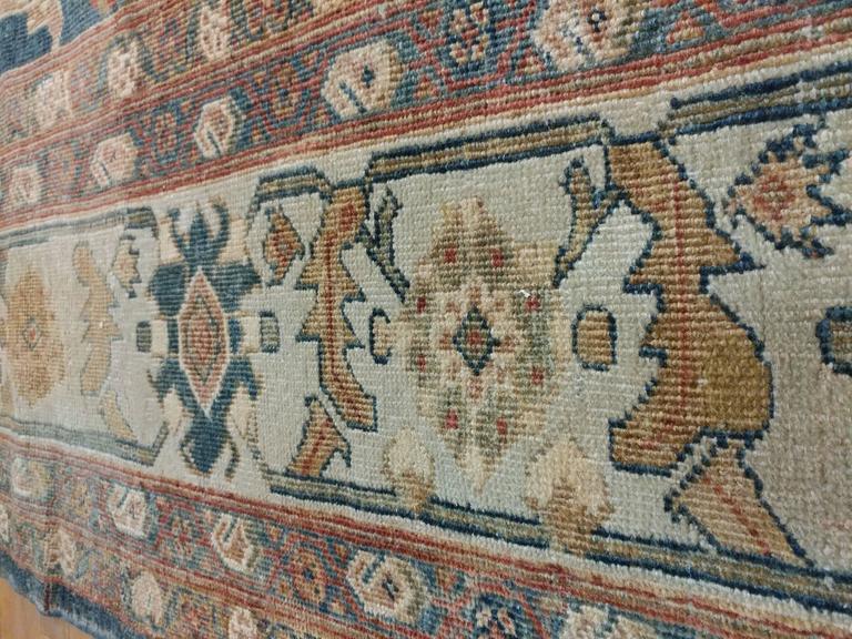 Antique Sultanabad Carpet, Persian Handmade Wool Rug, Soft Navy, Light Blue Ivor For Sale 2