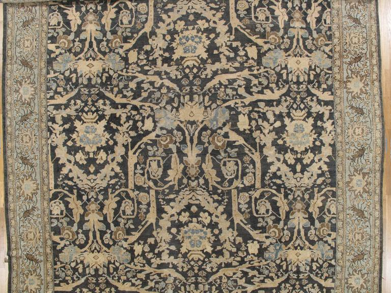 Persian Antique Sultanabad, Handmade Wool Rug, Grey Blue, Ivory, Navy, Tan, Light Blue For Sale