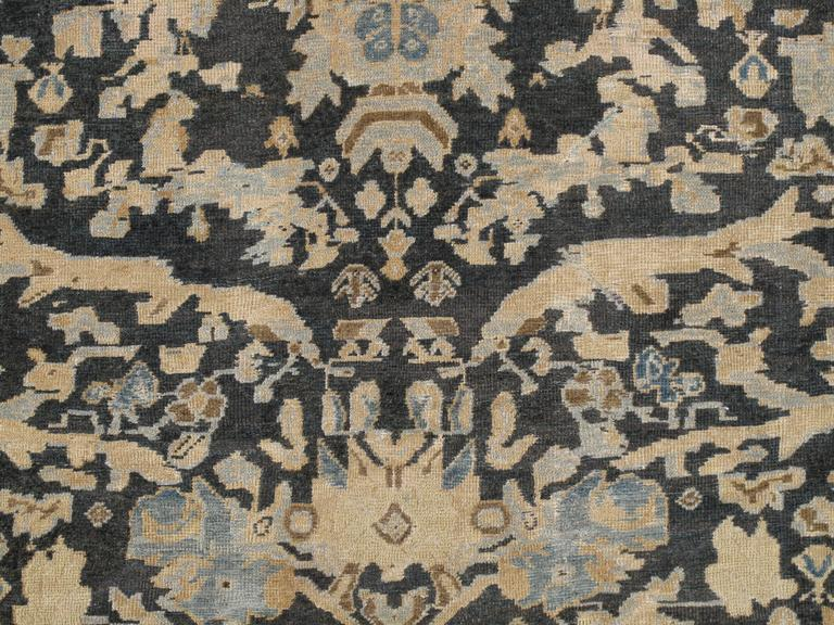 19th Century Antique Sultanabad, Handmade Wool Rug, Grey Blue, Ivory, Navy, Tan, Light Blue For Sale