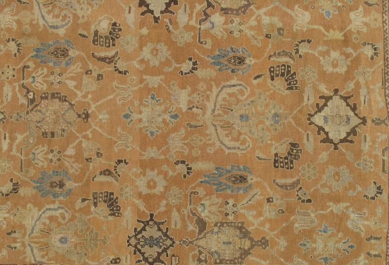 Hand-Knotted Antique Persian Sultanabad Carpet, Handmade Oriental Rug, Brown, Peach Soft Blue For Sale