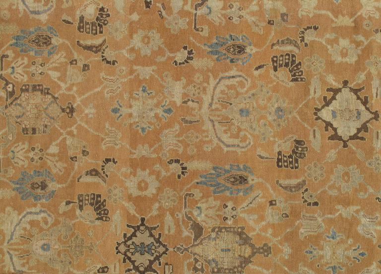 Antique Persian Sultanabad Carpet, Handmade Oriental Rug, Brown, Peach Soft Blue In Good Condition For Sale In New York, NY