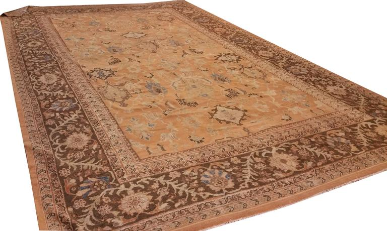 19th Century Antique Persian Sultanabad Carpet, Handmade Oriental Rug, Brown, Peach Soft Blue For Sale