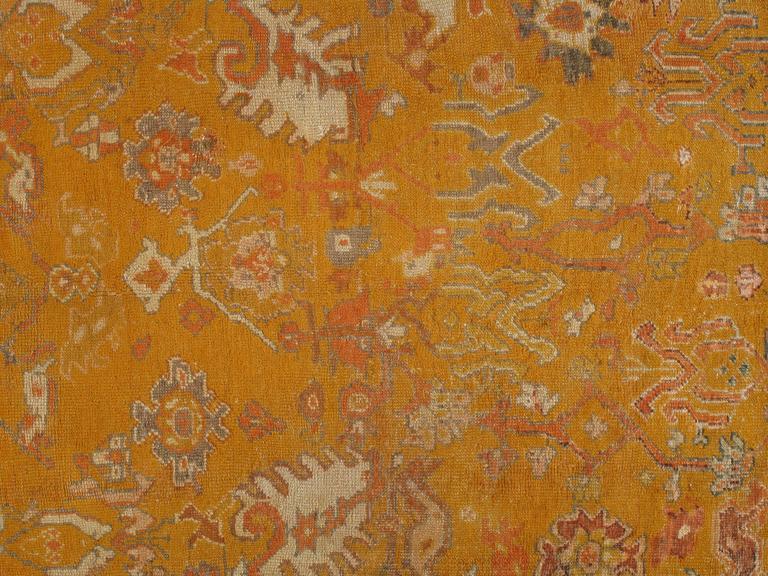 Antiker Oushak Teppich, Orientaler Teppich, Handgemacht, Orange, Elfenbein, Safran 2