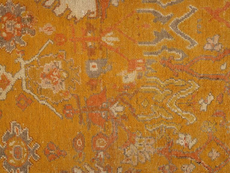 Antiker Oushak Teppich, Orientaler Teppich, Handgemacht, Orange, Elfenbein, Safran 3