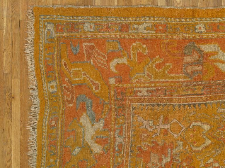 Antiker Oushak Teppich, Orientaler Teppich, Handgemacht, Orange, Elfenbein, Safran 4