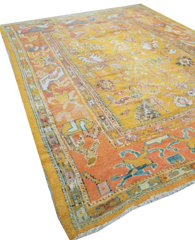 Antiker Oushak Teppich, Orientaler Teppich, Handgemacht, Orange, Elfenbein, Safran 5