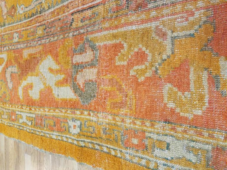 Antiker Oushak Teppich, Orientaler Teppich, Handgemacht, Orange, Elfenbein, Safran 6