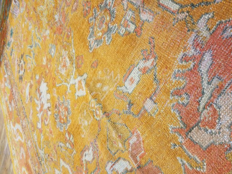 Antiker Oushak Teppich, Orientaler Teppich, Handgemacht, Orange, Elfenbein, Safran 7