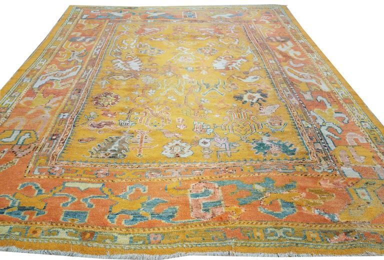 Antiker Oushak Teppich, Orientaler Teppich, Handgemacht, Orange, Elfenbein, Safran 8