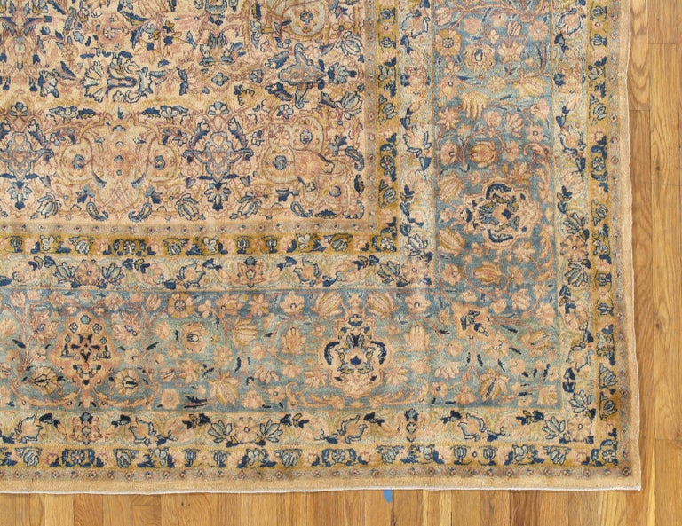 Hand-Knotted Antique Kerman Carpet, Handmade Persian Rug Wool Carpet, Blue, Beige and Peach For Sale