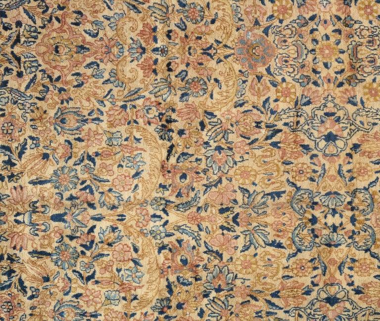 Antique Kerman Carpet Handmade Persian Rug Wool Carpet