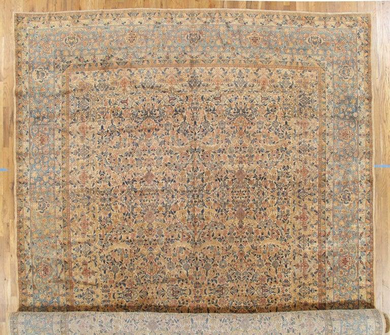 Antique Kerman Carpet, Handmade Persian Rug Wool Carpet, Blue, Beige and Peach For Sale 1