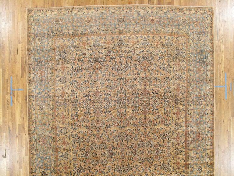 Antique Kerman Carpet, Handmade Persian Rug Wool Carpet, Blue, Beige and Peach For Sale 2