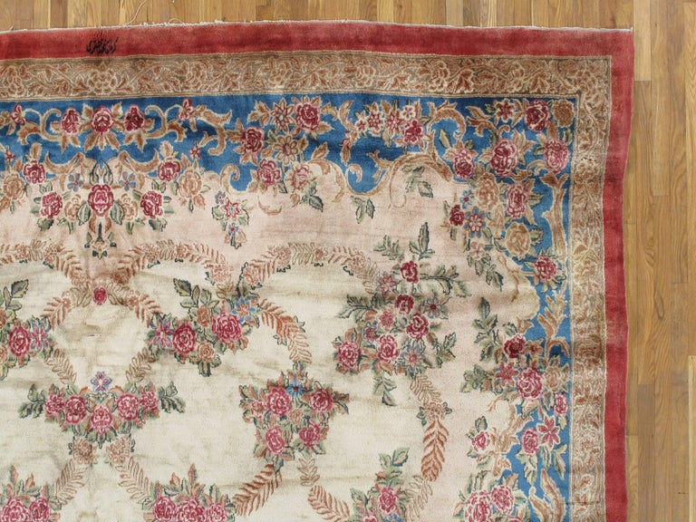 Hand-Knotted Antique Kerman Carpet, Handmade Persian Rug, Wool Carpet, Pink Red, Green, Ivory For Sale