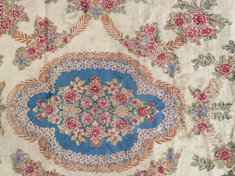 Antique Kerman Carpet, Handmade Persian Rug, Wool Carpet, Pink Red, Green, Ivory In Excellent Condition For Sale In New York, NY