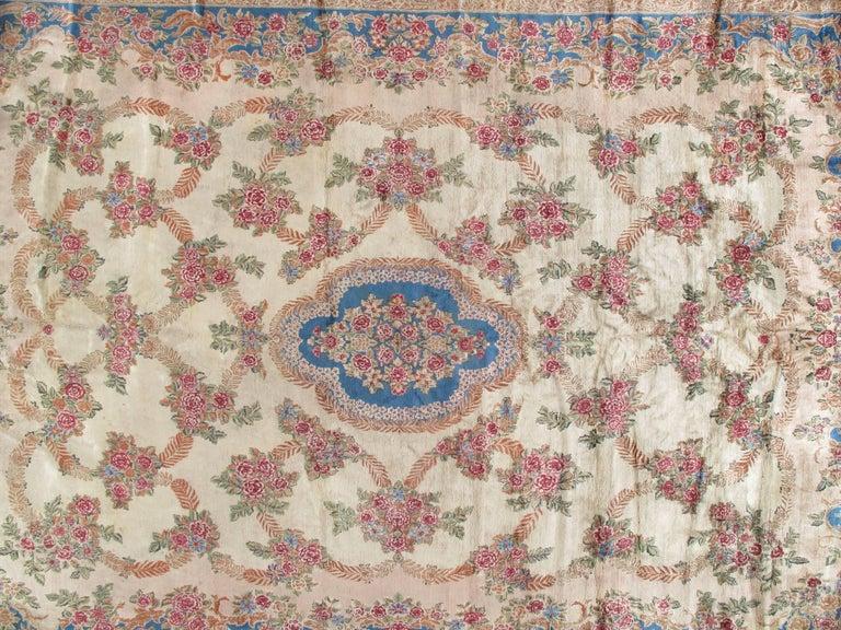 20th Century Antique Kerman Carpet, Handmade Persian Rug, Wool Carpet, Pink Red, Green, Ivory For Sale
