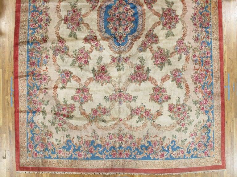 Antique Kerman Carpet, Handmade Persian Rug, Wool Carpet, Pink Red, Green, Ivory For Sale 1