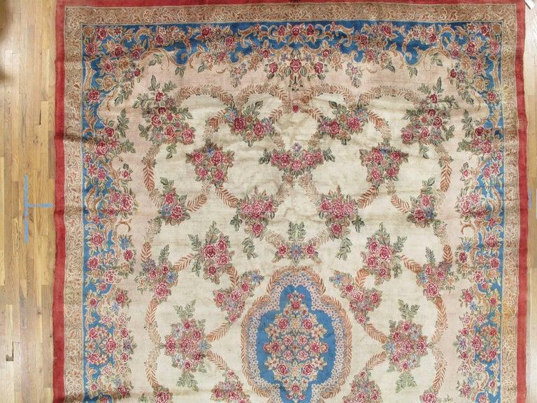 Antique Kerman Carpet, Handmade Persian Rug, Wool Carpet, Pink Red, Green, Ivory For Sale 2